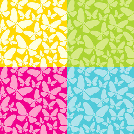 Set of four colored seamless background with butterflies Stock Vector - 8793417