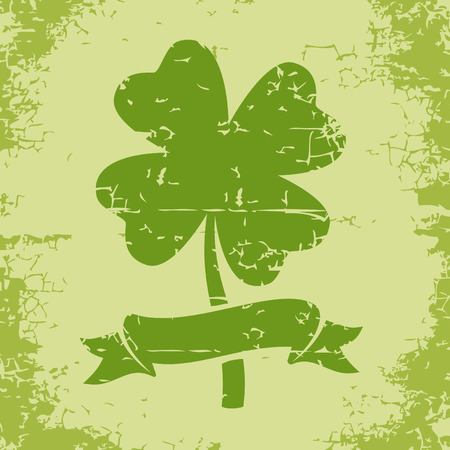 Illustration of clover with four leaves in grunge style Vector