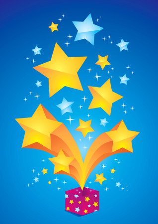 Open box with orange and blue stars Vector