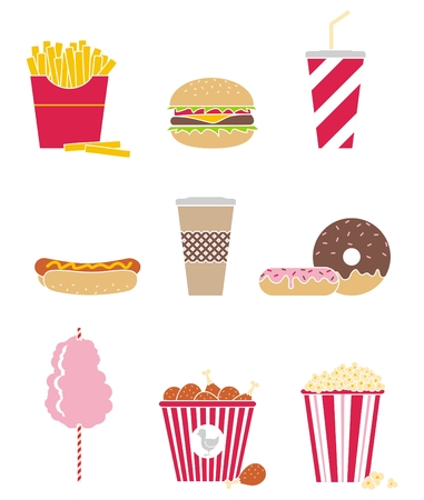 set of nine icons fast food