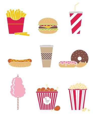 set of nine icons fast food 矢量图片