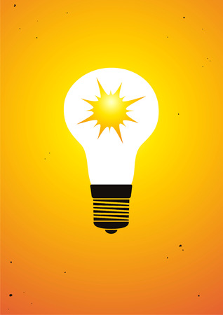 The sun is shining inside bulb Stock Vector - 8905594
