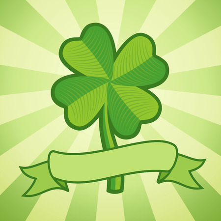 Vector illustration of clover with four leaves and ribbon Vector