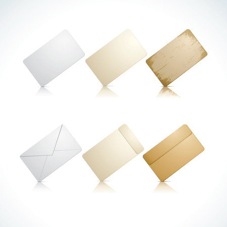 Vector illustration of cards and envelope with reflections Vector