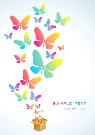 Open cardboard box with colorful butterflies flying Stock Vector - 8982947