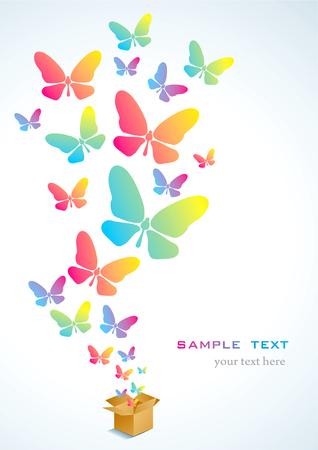 butterflies flying: Scatola di cartone aperta con colorate farfalle volano Vettoriali