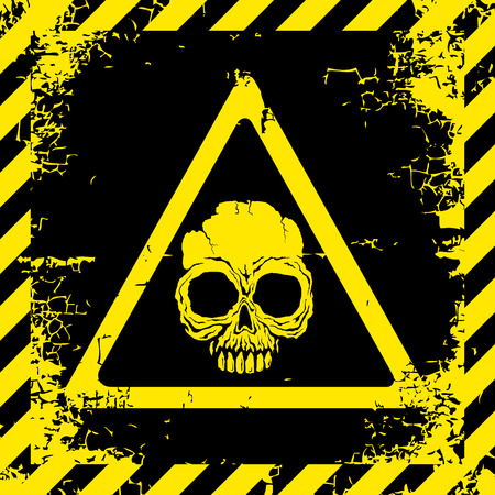 Warning sign with a skull about the dangers Illustration