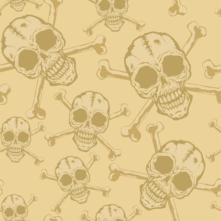 Seamless background from a skull with crossbones Vector