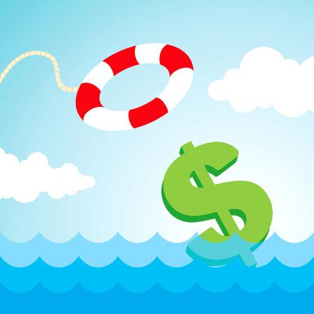 Hundimiento del dólar y el vuelo lifebuoy Ilustración de vector