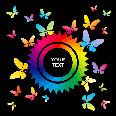 Abstract bright background with flower and butterflies Vector