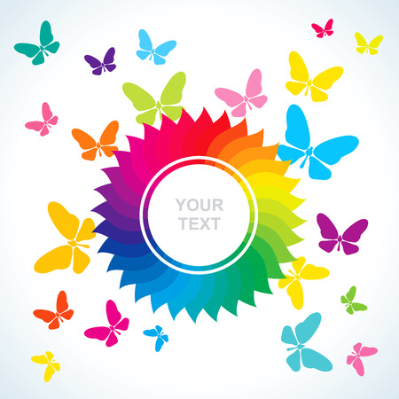Abstract bright background with flower and butterflies Illustration