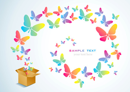 Open cardboard box with colorful butterflies flying Stock Vector - 9136215