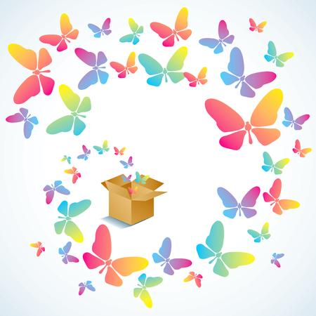 Boîte en carton ouverte avec des papillons colorés de vol