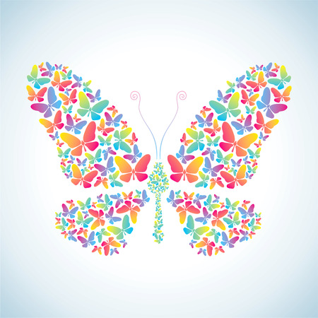 Illustration of butterflies, which consists of many colorful butterflies Stock Vector - 9136213