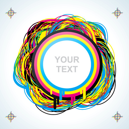 four color printing: Abstract background of the four colored circles Illustration