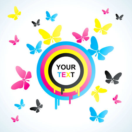 drain fly: Abstract background with colored CMYK circles and butterflies