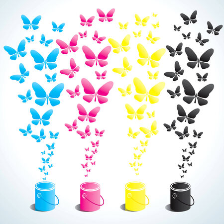 Four cans of paint in four colors and butterflies Stock Vector - 9136209