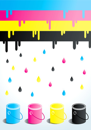 ink jet: Four cans of paint in four colors Illustration