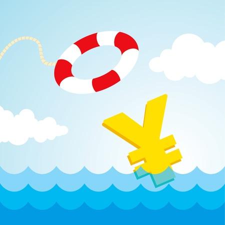 yen sign: Signo de yen hundimiento y el vuelo lifebuoy Vectores