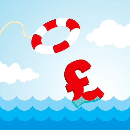 river banks: Sinking pound sign and the flying lifebuoy Illustration