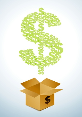 Illustration of a cardboard box with dollars Vector