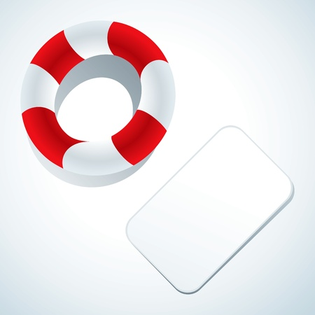 Illustration of a lifebuoy and business card Vector