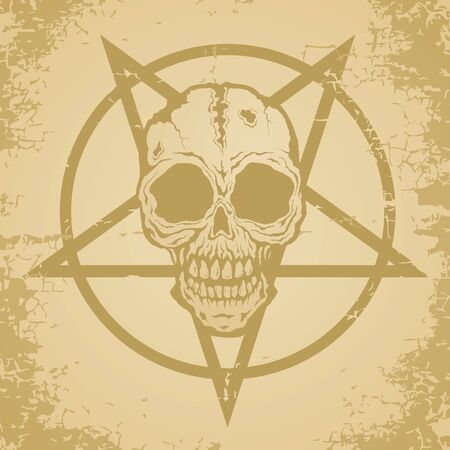 Skull and pictograph painted on old paper Vector