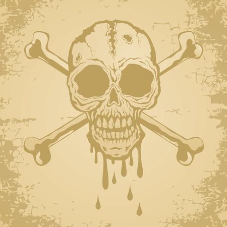 cross bones: Skull and crossbones painted on old paper