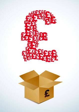 Illustration of a cardboard box with pound Vector