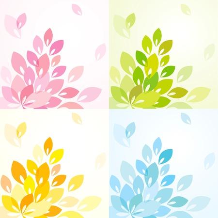 crecimiento planta: Fondo abstracto con hojas de colores diferentes