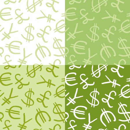 seamless pattern of the four currency symbols Vector
