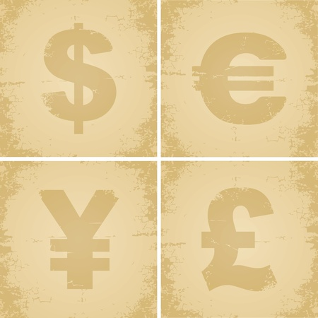 Four currency symbol for the old cracked paper Vector