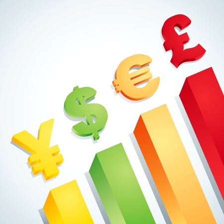 grow money: Symbols of dollar, euro, pound and yen Illustration