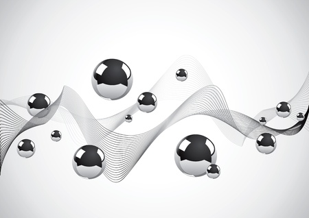 communicatie: Abstracte achtergrond van een reeks van metalen ballen