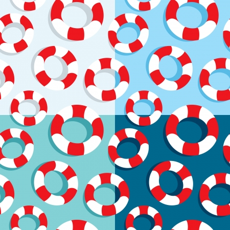 Seamless pattern of life buoys in four colors Vector