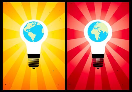Bulb and the globe on the background color Stock Vector - 9413071