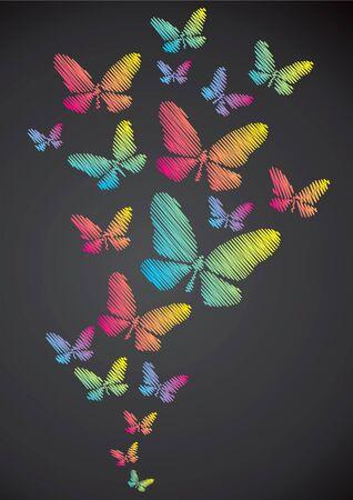 Butterflies drawn in chalk on a blackboard Vector