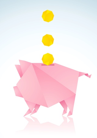 Origami pigs from pink paper and coins