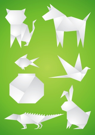 Origami Pets of the white paper on green background Illustration