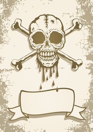 Skull and crossbones painted on old paper Vector