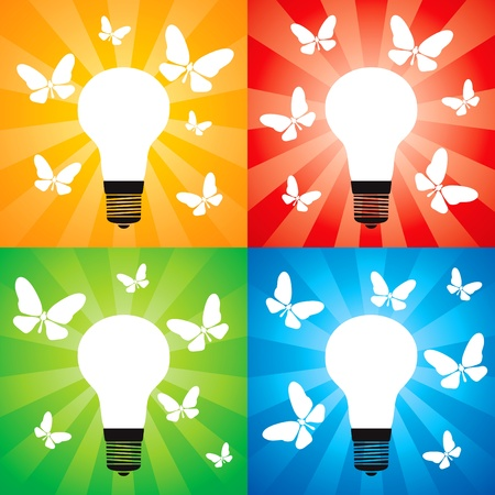 Illustration of glowing lights and flying moths Stock Vector - 9710977