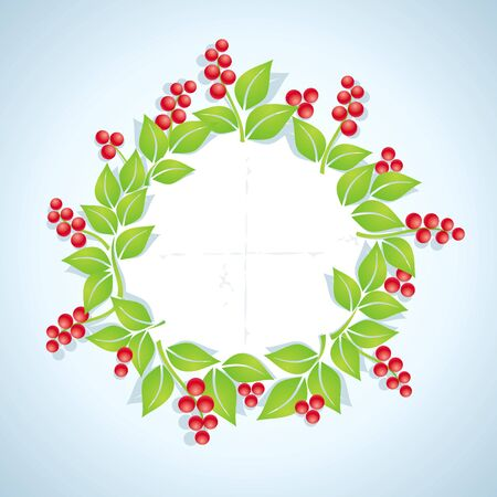Wreath of red berries with green leaves Vector