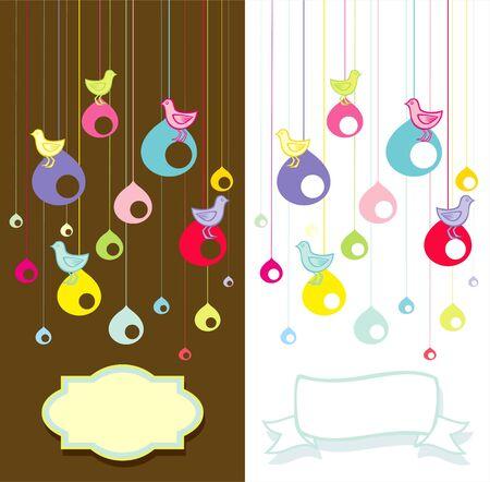 Illustration of birds sitting on the nest Stock Vector - 9710978