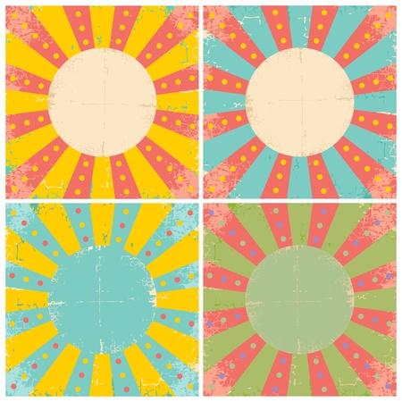 cartone strappato: Set di quattro manifesti luminosi circo d'epoca