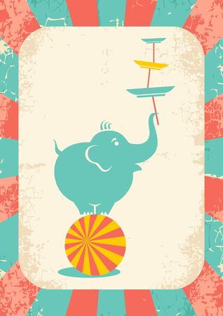 Illustration of an elephant on the ball at the circus