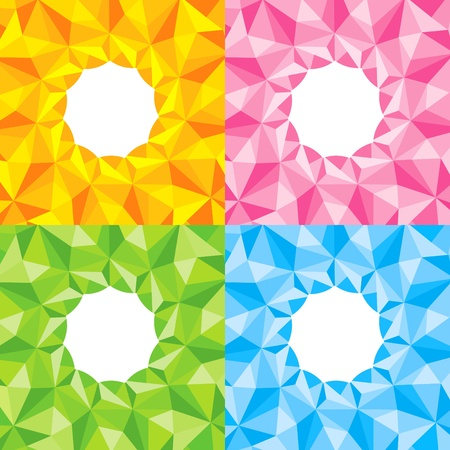 Four bright background in the form of origami