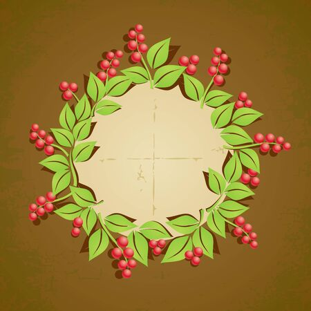 Wreath of red berries with green leaves Stock Vector - 9815701