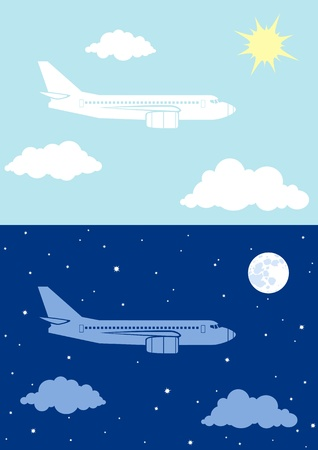 Two illustrations airplane flying in the sky Vector