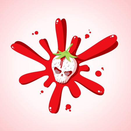 strawberry cartoon: Illustration of a skull in a spray of blood strawberries