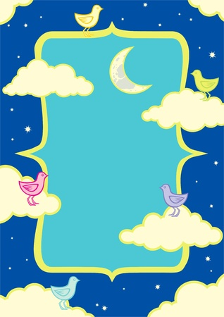 Illustration of birds in the clouds at night under the moon Stock Vector - 10272955